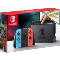 Nintendo Switch w/ Neon Blue & Neon Red Joy Con + $35 Nintendo eShop Credit Download Code - Nintendo Switch