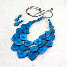 Blue Multi Strand Bib Necklace Set made of Tagua, Multi Strand Eco Friendly Fair Trade Jewelry