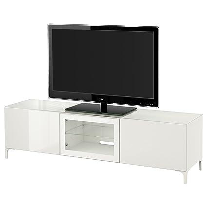 Ikea Besta Banc Tv Avec Portes Blancselsviken Brillant