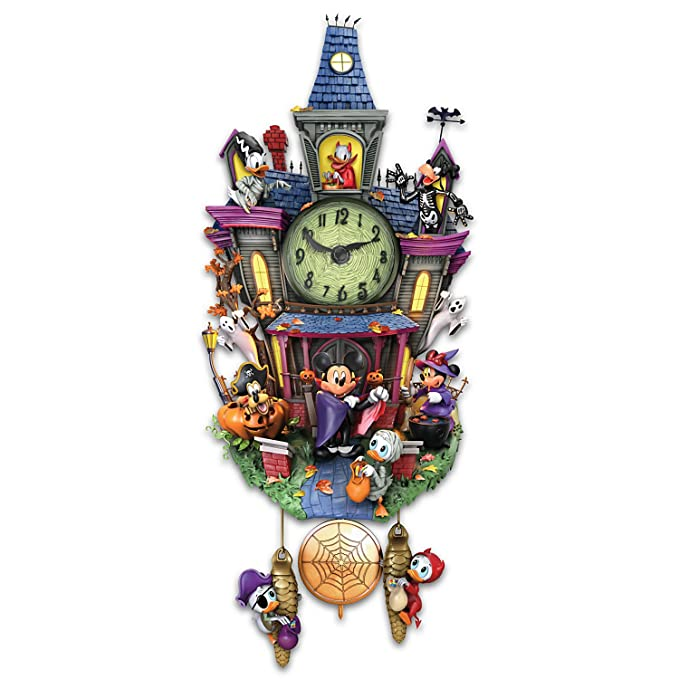 disney discovery the bradford exchanges halloween themed cuckoo clock