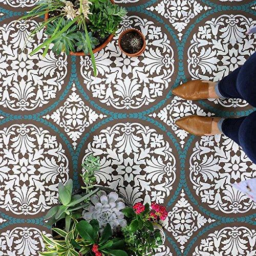 Penelope Tile Stencil - Cement Tile Stencils - DIY Floor Tiles - Reusable Stencils for Home Makeover