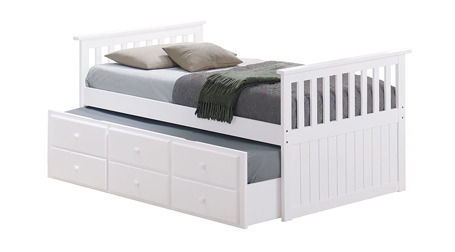 Broyhill Kids Marco Island Captains Bed With Trundle Bed And Drawers Twin White Twin Sized Mattress Not Included Bunk Bed Alternative