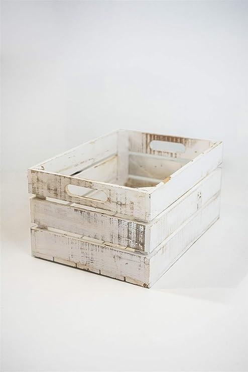 Caja Blanca Vintage de Almacenamiento con Asas Sam, Madera,
