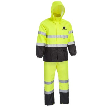 West Chester JD44530 John Deere High Visibility ANSI Class III Rain Suit Jacket and Bib with Color Block: Lime Green/Black