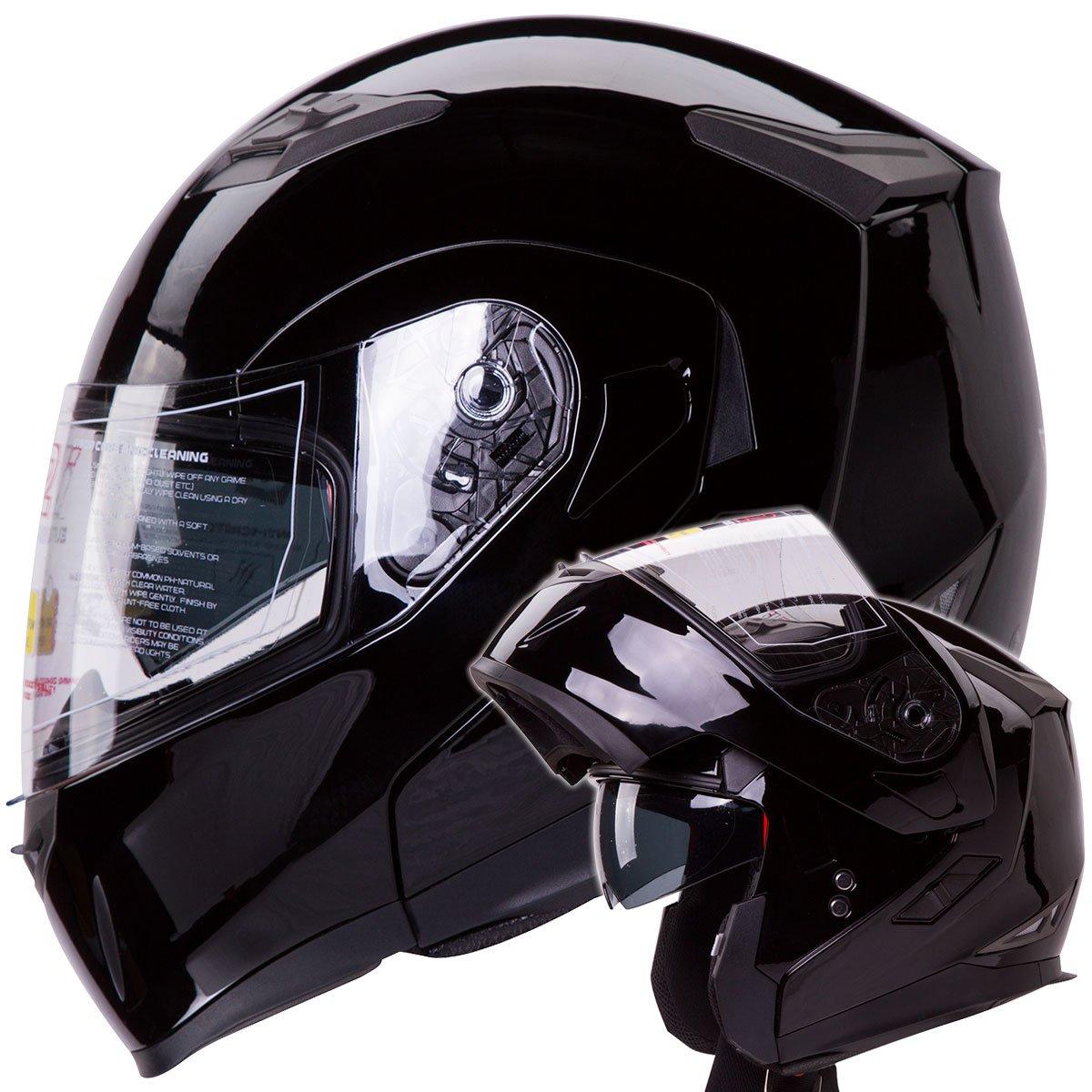 Dual Visor Modular Flip up Gloss Black Motorcycle Street Bike Cruiser Chopper Helmet DOT