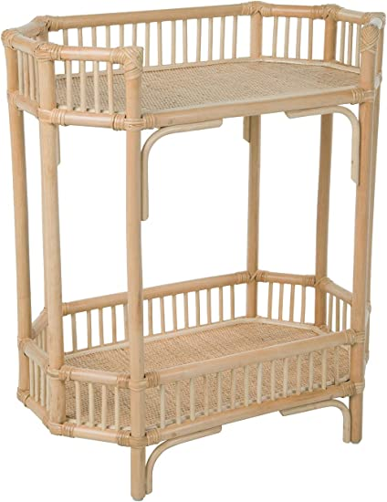 Kouboo 1110141 Manhattan 2-Tier Console, Natural Rattan End Table, Brown