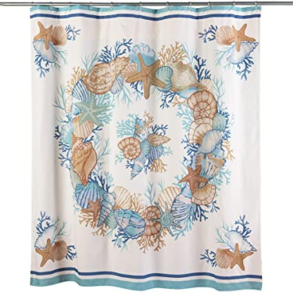 Collections Etc Seasshower Curtain Beach Bathroom Decor