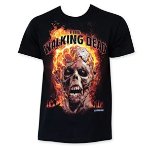 The Walking Dead Flaming Zombie Head Tee Shirt XX-Large Black