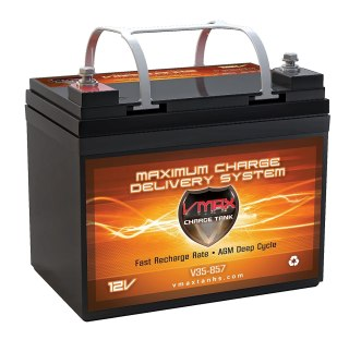 VMAX857 AGM Battery 12 Volt 35AH Marine Deep Cycle HI Performance Battery ideal for boats and 18-35lb minn kota, minnkota, cobra, sevylor