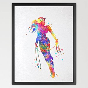 Dignovel Studios 8X10 Wonder Woman Watercolor illustration Art Print Wall Art Poster Home Decor Wall Hanging Boys Girls Room Art Birthday Gift N161