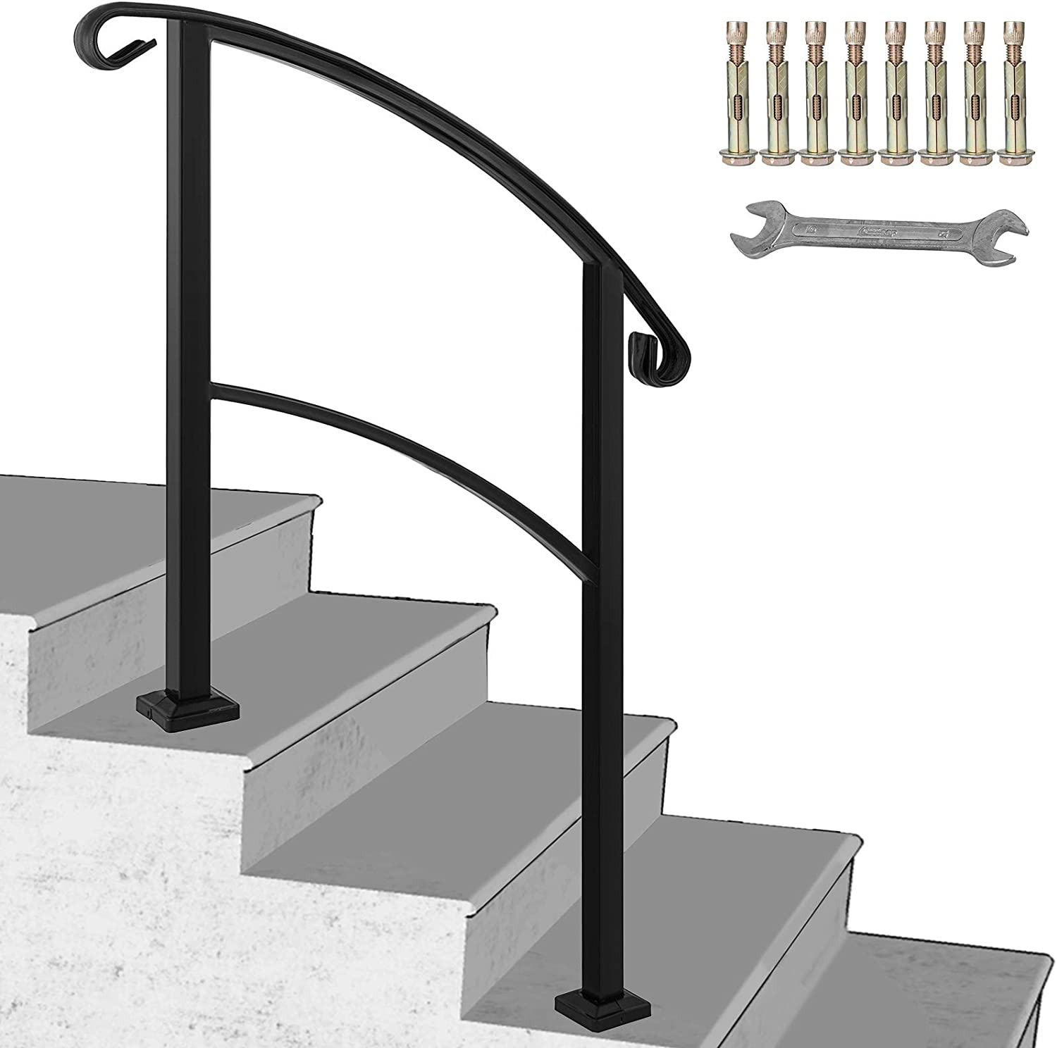 Happybuy 3 Step Transitional Handrail Fits 1 Or 3 Steps Matte | Iron Handrails For Outside Steps | Aluminum Railing | Railing Systems | Deck Railing | Front Porch