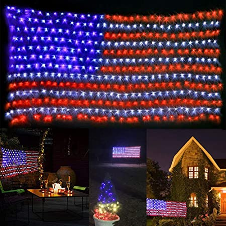 Amazon Com Dingfu Awesome American Flag Lights Waterproof American Flag Christmas Lights For 4th Of July Decorations Independence Day Memorial Day Festival Garden Patriotic Decorations Garden Outdoor