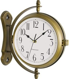 WJIEH Vintage Double Sided Train Station Wall Clock