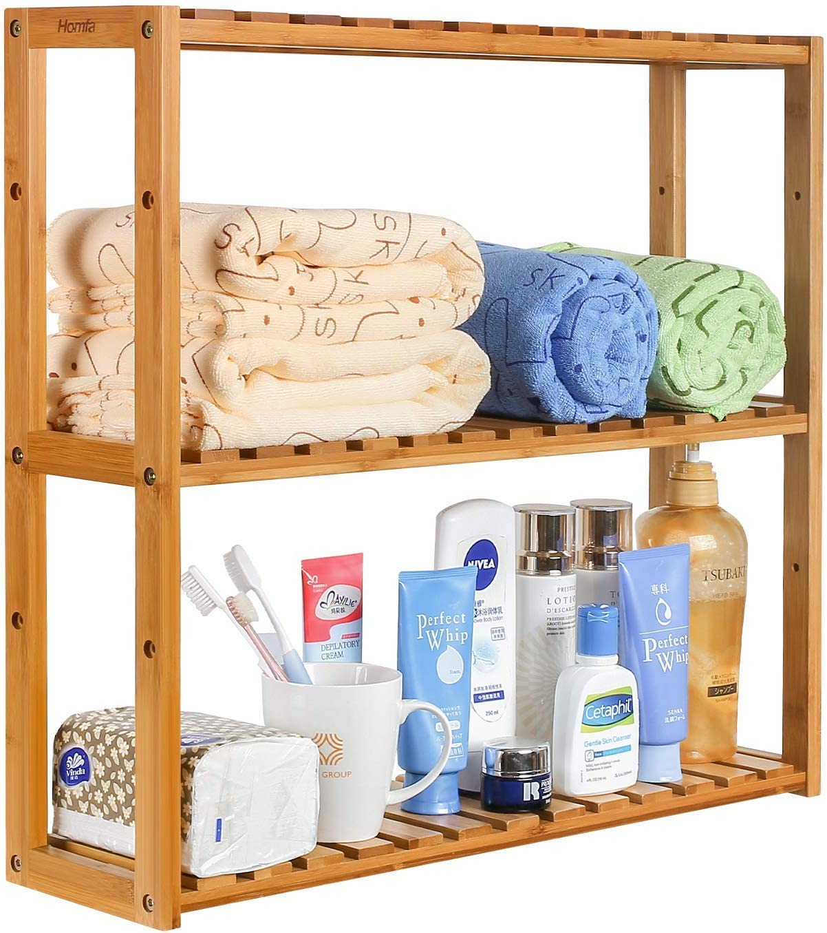 Homfa Bathroom Shelves 3 Tier Wall Shelf Storage Shelves Adjustable Shelving Unit Kitchen Storage Rack Bathroom Organiser Bamboo Natural 60x15x54cm Amazon Co Uk Diy Tools