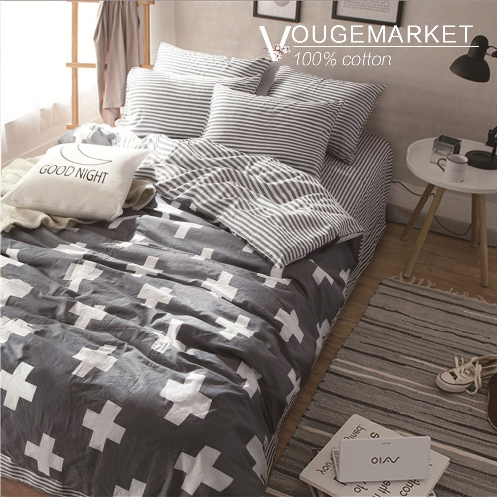 Vougemarket 3 Piece Duvet Cover Set (Queen,King) Duvet Cover with 2 Pillow Shams - Hotel Quality 100% Cotton - Luxurious, Comfortable, Breathable, Soft and Extremely Durable (King, Style 3)
