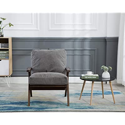 Buy Cimota Mid Century Modern Accent Chair Upholstered Armchair Comfy Lounge Chair Indoor Arm Chair For Bedroom Living Room Grey Fabric Online In Canada B08j7l961h