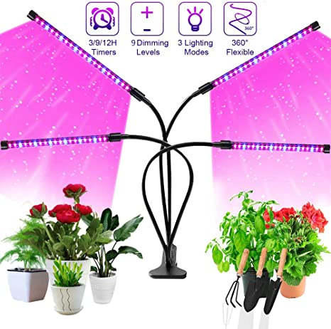 Amazon Com Grow Light Sonata Four Head Timing Plant Grow Lights For Indoor Plants 72 Led 9 Dimmable Levels Lamp Bulbs With Red Blue Full Spectrum Adjustable Gooseneck 3 9 12h Timer 3