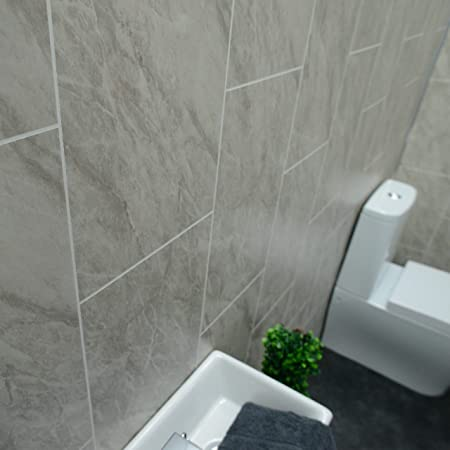 Claddtech Grey Marble Bathroom Wall Panels Tile Effect Cladding Used In Kitchen Office Ceiling And Walls Perfect For Wet Walls In Shower Pvc Plastic 100 Waterproof By Order A Sample Or Panels