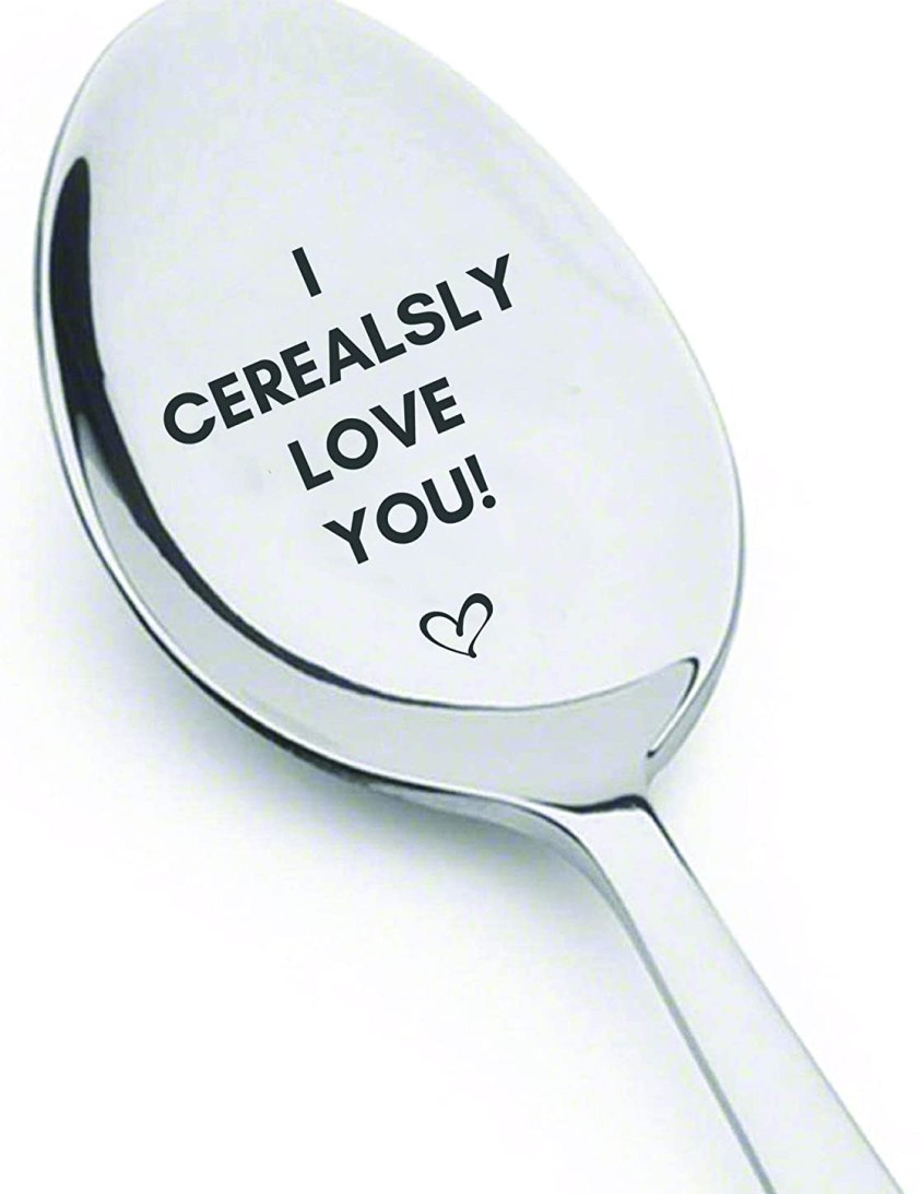 I Cerealsly Love You Engraved Stainless Steel Cereal Spoon Anniversary Wedding Boyfriend Girlfriend Valentine Unique Token Of Love On Special Occasions-Best Gifts From Boston Creative Company
