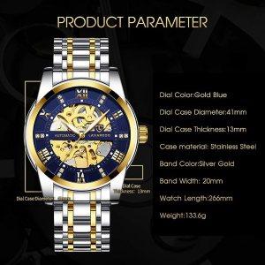 Men's Watch Luxury Mechanical Stainless Steel Skeleton Waterproof Automatic