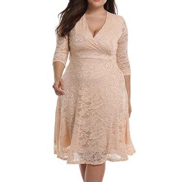 da476fc9067c9 Chenghe Women s PlPlus Size Lace Bridal Skater Wedding Party Mother Dress  Beige Plus22-24