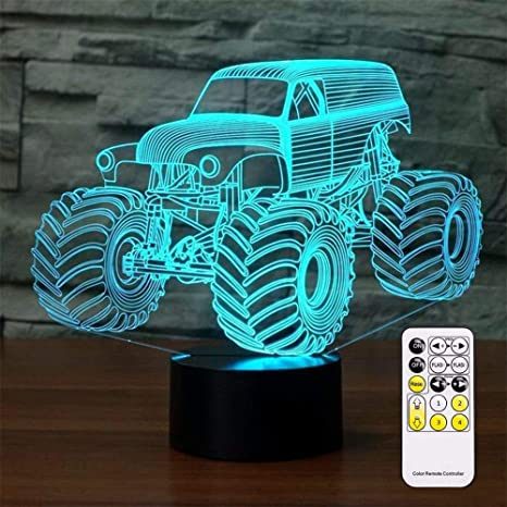 3d Optical Illusion Monster Truck Night Light Toy Lamp Remote Control Dimmable Battery Or Usb Powered 7 Colors Change Christmas Birthday Gift For Boys Girls Baby Amazon Com