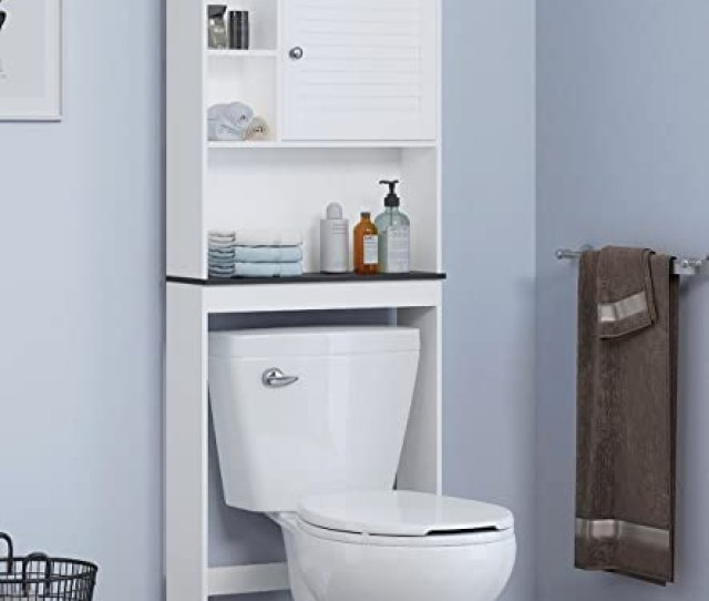 Amazon Com Spirich Home Bathroom Shelf Over The Toilet Bathroom Cabinet Organizer Over Toilet With Louver Door White Finish Kitchen Dining