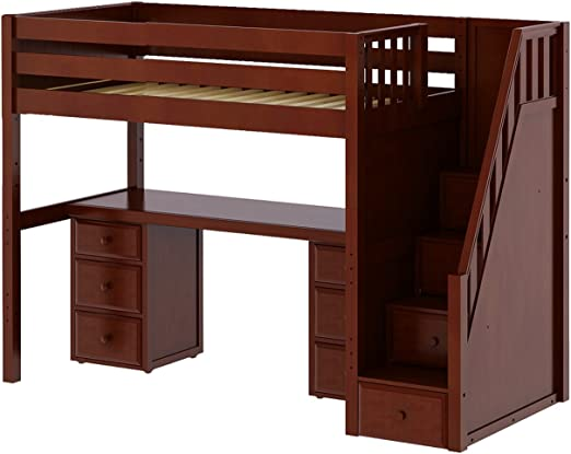 Amazon Com Maxtrix Solid Hardwood Twin Size Low Loft Bed With Storage Staircase Entry Integrated Desk And 2x 3 1 2 Drawer Dresser Chestnut Furniture Decor