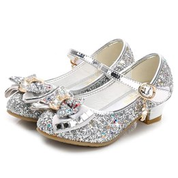 Waloka Sliver Girls Mary Jane Shoes Size 12 6 Yr Prom Sequins Wedding Little Girls Princess Dress Shoes Party 6T Toddler Glitter Shoes Medium High Heels for Girls 7 Year Old Cute (Sliver 30)
