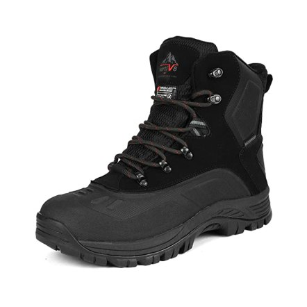 NORTIV 8 Men's 180411 Black Insulated Waterproof Construction Hiking Winter Snow Boots Size 10 M US