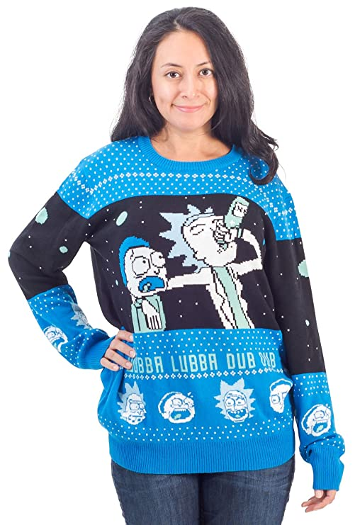 Rick and Morty Wubba Lubba Spaceship Christmas Sweater (Adult X-Large)
