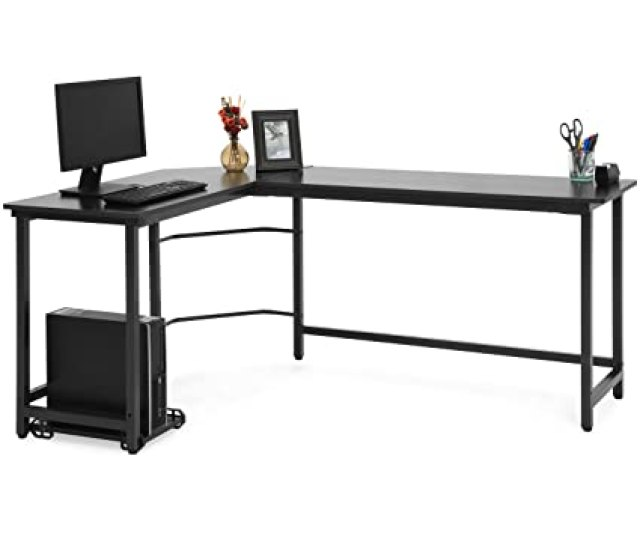 Amazon Com Best Choice Products Modern L Shaped Corner Desk W Cpu Stand Black Office Products
