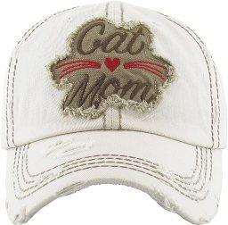 H-212-CM60 Distressed Baseball Cap - Cat Mom (Beige)