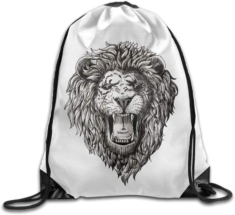 Lion Face Tattoo Graphic Roaring Mouth Cool Cool Drawstring Backpack String Bag Amazon Co Uk Sports Outdoors