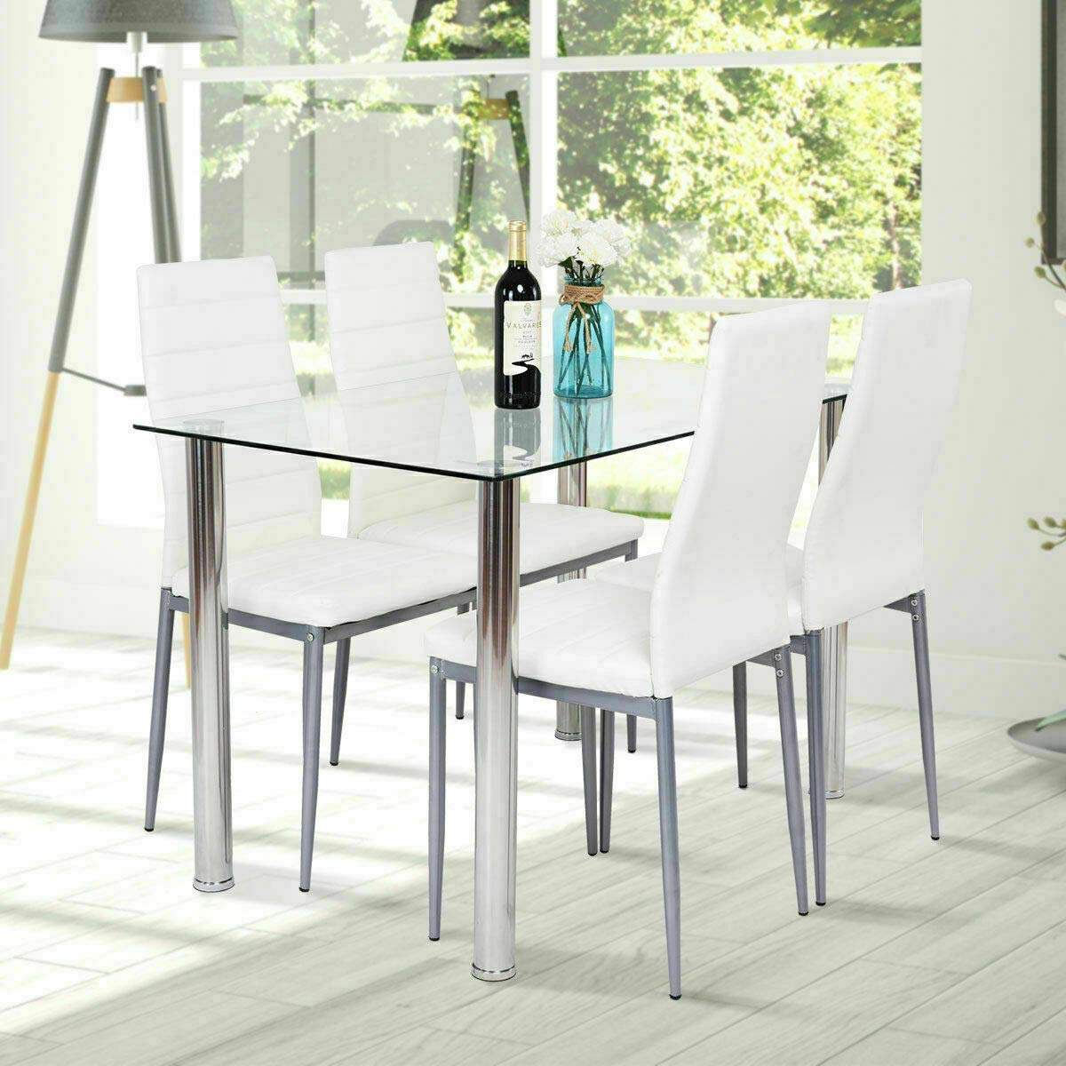 Dining Table With Chairs 4homart 5 Pcs Glass Dining Kitchen Table Set Modern Tempered Glass Top Table And Pu Leather Chairs With 4 Chairs Dining Room Furniture Black Table