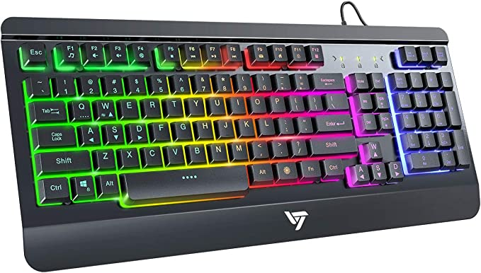 VictSing Gaming Keyboard, LED Backlit Wired Keyboard with Ergonomic Wrist Rest, Quiet Click USB Keyboard for PC/Mac Game, Office Typing, Black