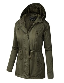B.I.L.Y BILY Women Junior Fit Military Anorak Safari Hoodie Jacket Olive Medium