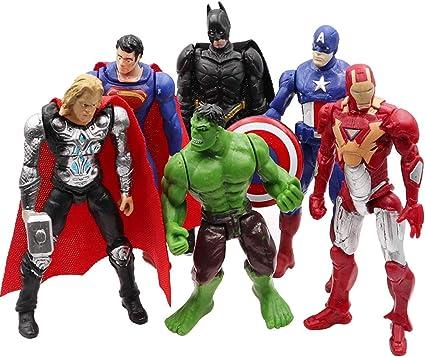 Amazon Com Superhero Action Figures 6 Pcs Action Figure Set Batman Superman Hulk Thor Ironman Captain America Pvc Figure Toy Dolls Hero Cake Toppers Toys Games