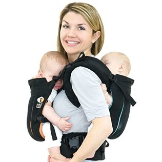 TwinGo Air Baby Carrier - Separates to 2 Single Carriers. Breathable Mesh, Compact, Comfortable, and Fully Adjustable. (Classic Black)