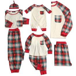 PopReal Toddler Plaid Family Matching Clothes Long Sleeve and Pants Christmas Pajamas Set