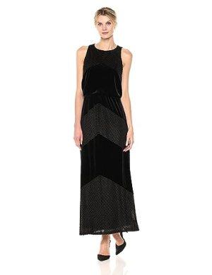 London Times Women's Sleeveless Round Neck Velvet Maxi Dress