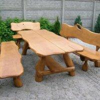 Rustikale Sitzgruppe aus Eiche für den Garten - Langer Tisch 2,50m aus Holz und 2 Bänke mit Rückenlehne von Luxus Pur UG