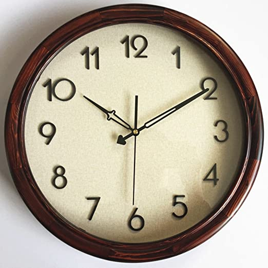 Amazon Com Simple And Modern Wall Clock Nordic Wind Natural Color Retro Living Room Bedroom Quiet Wall Clocks Decorative Clocks Brown 16inch Home Kitchen
