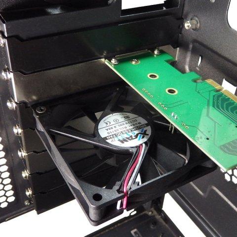 長尾製作所 M.2 SSD変換PCI用ファンステイ 80mm薄型ファン1台付属