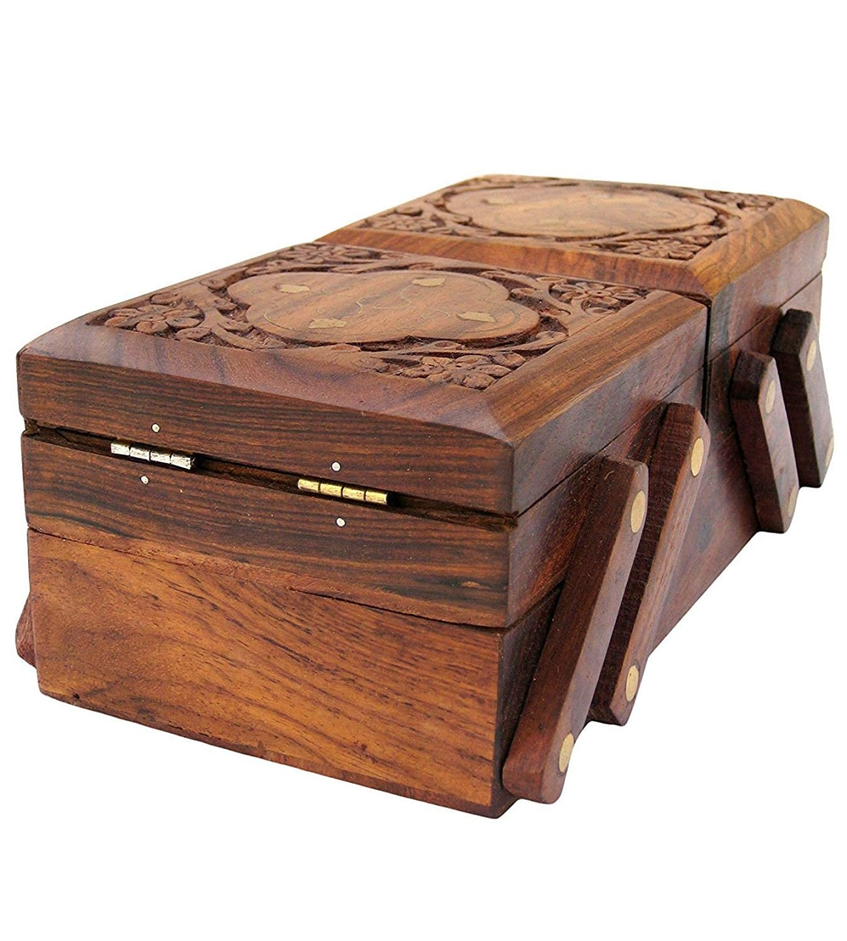 Jk Handicrafts Handmade Wooden Jewellery Box for Women Jewel Organizer Hand Carved Carvings Gift Items