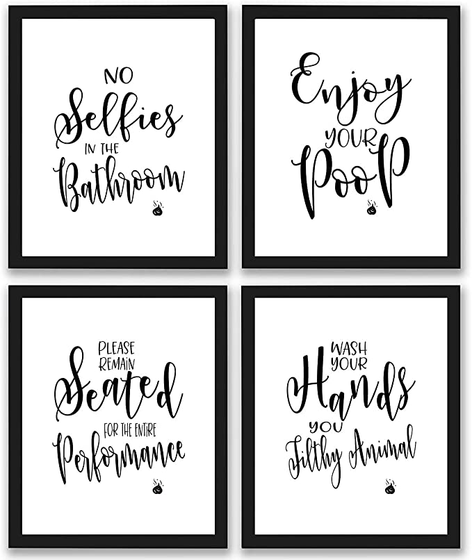 Bathroom Quotes and Sayings Art Prints | Set of Four Photos 8x10 Unframed | Great Gift for Bathroom Decor