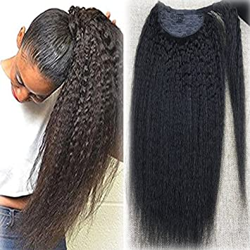 Fshine 16 inch Kinky Straight 100% Human Hair Ponytail Extension for Woman 100g/Piece Color Natural Black