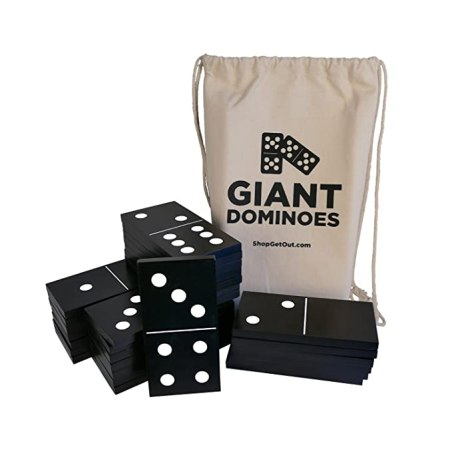 Get Out! Giant Wooden Dominoes 28-Piece Set & Bag – Jumbo Black Color Wood & White Numbers, Kids Adults Outdoor Games
