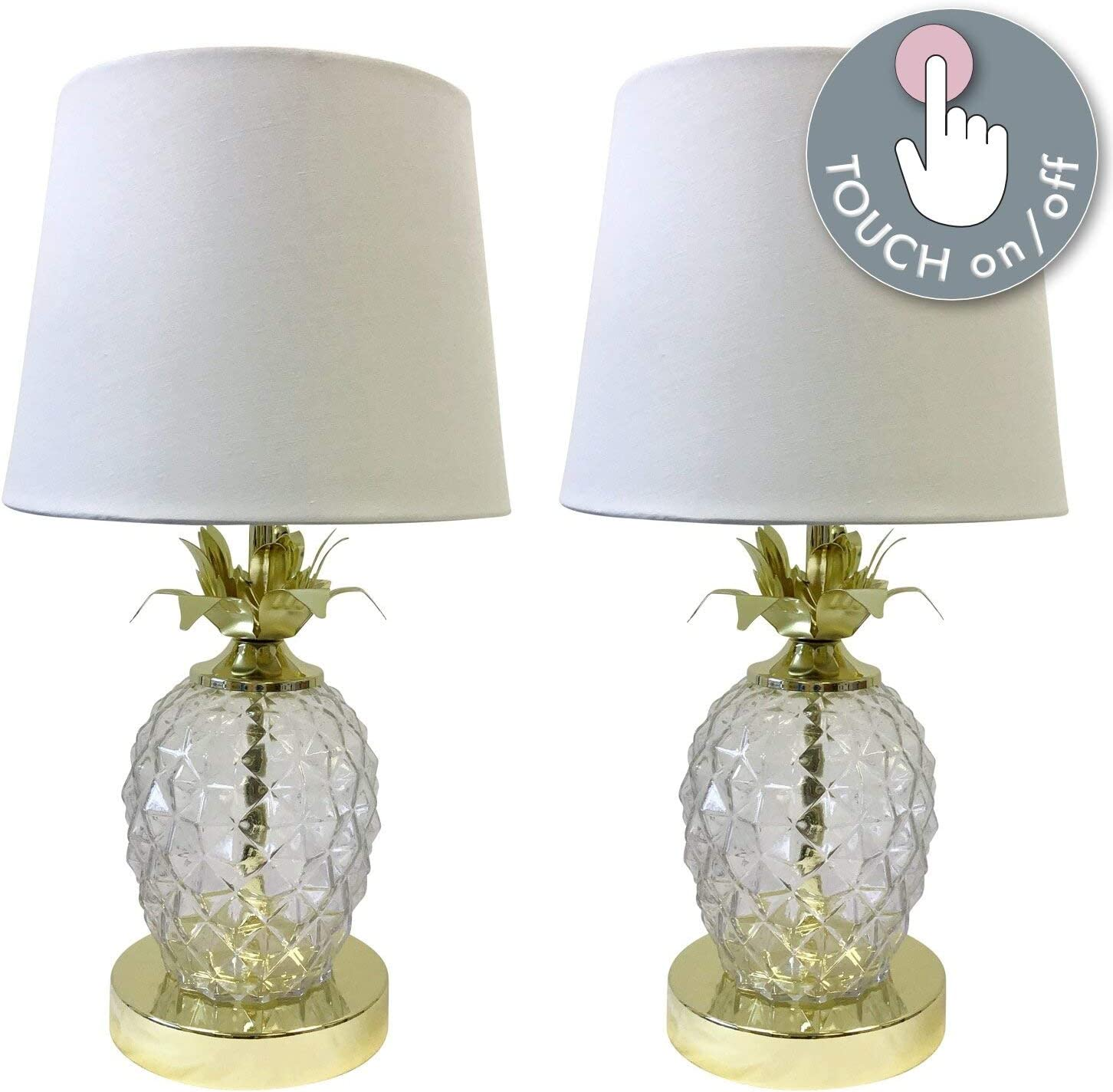 Pair Of Modern Pineapple Design Touch Operated Table Lamps Or Bedside Lights Gold With White Shade Touch Lamp Led Compatible 42cm Tall Amazon Co Uk Lighting