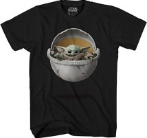 Star Wars Baby Yoda in Crib The Mandalorian Men's Adult Graphic Tee T-Shirt